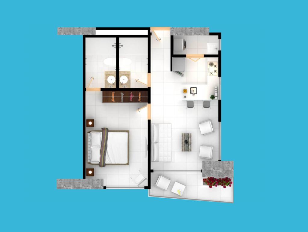 Apartamento Tipo 1 - Area: 62 mts2 - 1 habitación